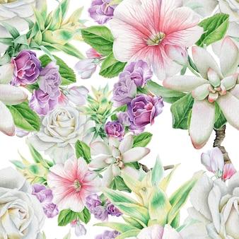 花と明るいシームレスパターン。ローズ。ナナカマド。多肉植物。水彩イラスト。手で書いた。