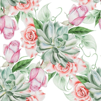 花と明るいシームレスパターン。ローズ。多肉植物。水彩イラスト。手で書いた。