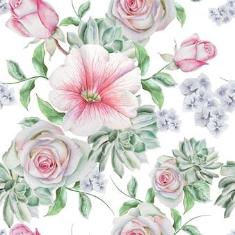 花と明るいシームレスパターン。ローズ。多肉植物。ゼニアオイ。水彩イラスト。手で書いた。