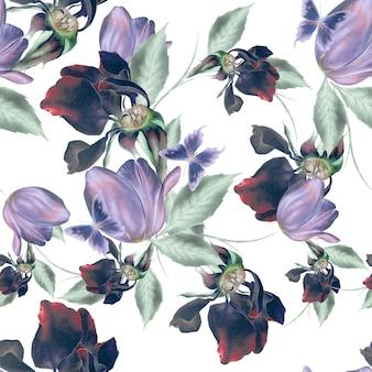 花と明るいシームレスパターン。ローズ。チューリップ。蝶。水彩イラスト。手で書いた。