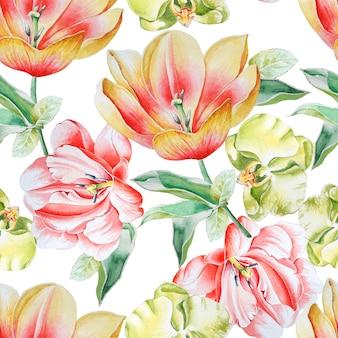 花と明るいシームレスパターン。チューリップ。蘭。水彩イラスト。手で書いた。