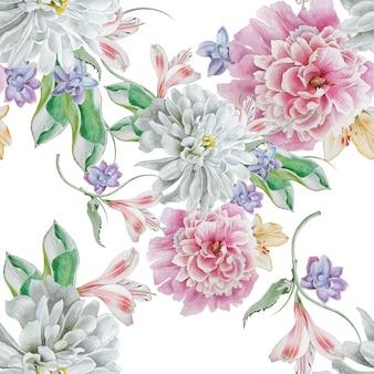 花と明るいシームレスパターン。水彩イラスト。菊。牡丹。手で書いた。