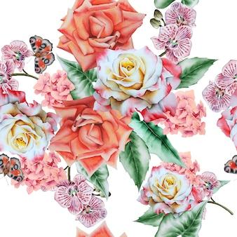 花と明るいシームレスパターン。水彩イラスト。手で書いた。