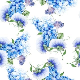 花と明るいシームレスパターン。水彩イラスト。ペチュニア。パンジー。ヒヤシンス。手で書いた。