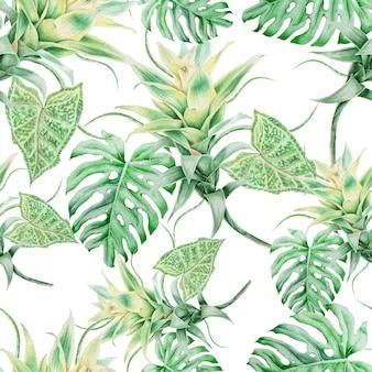 葉と明るいシームレスパターン。アナナス。モンステラ。水彩イラスト。手で書いた。