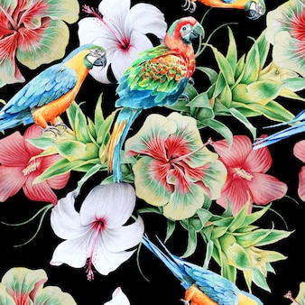 オウムと花の明るいシームレスパターン。ハイビスカス。アナナス。水彩イラスト。手で書いた。
