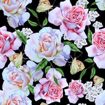 Яркий фон с розами и бабочками. акварельная иллюстрация. нарисованный от руки