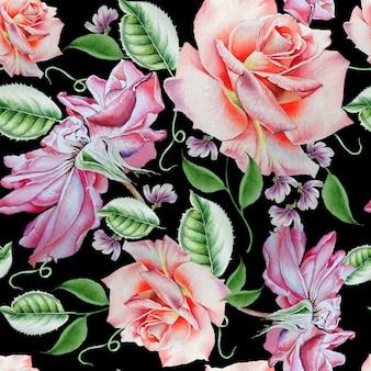 バラと明るいシームレスパターン。水彩イラスト。手で書いた。