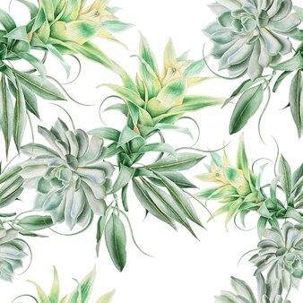 多肉植物と葉のある明るいシームレスパターン。水彩イラスト。手で書いた。