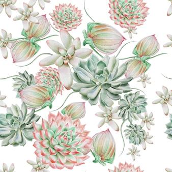 多肉植物と明るいシームレスパターン。水彩イラスト。手で書いた。
