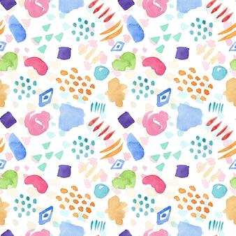 Яркий бесшовный акварельный образец с цветными пятнами, каплями и линиями для текстильного дизайна