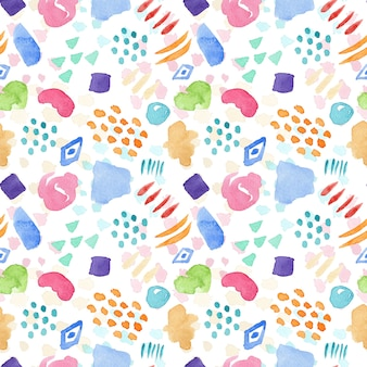 Bright seamless watercolor pattern with color stains drops and lines for textile design