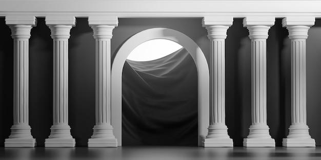 Яркие блестящие черные двери классические колонны столбы колонады интерьер архитектуры 3d рендеринга