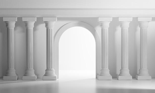 Яркие сияющие двери классические колонны столбы колонады интерьер архитектуры 3d рендеринга