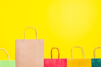 Bright shopping bags with handles