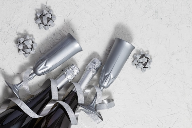 Bright silver streamers serpentine, bottles of sparkling wine, glasses for holiday card