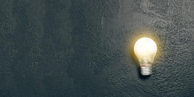 Идея яркой одиночной светящейся лампочки