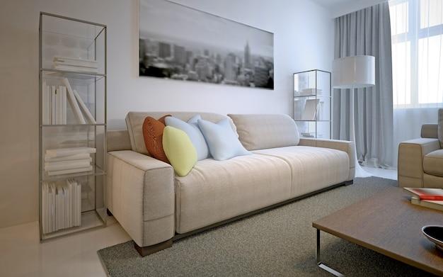 モダンなリビングルームのための明るいソリューション。白い壁、洗練されたコントレテフローリング、ティッチパイルカーペット、コズミックラテソファ、両側のガラス棚。 3dレンダリング