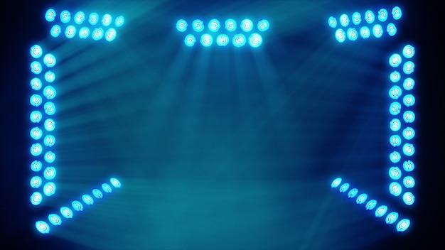 Яркие сценические огни, мигающие в синем цветном месте для вашего пространства для копирования текста