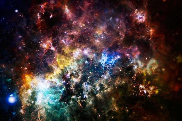 깊은 우주에서 빛나는 밝은 별, 성단 뒤의 별 폭발. 고해상도 갤럭시 배경. 제공된이 이미지의 요소