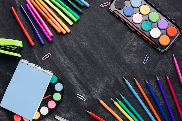 Bright stationery for creating art on dark background