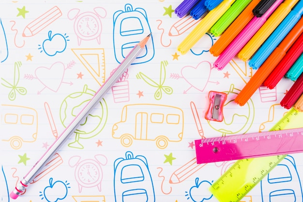 Bright stationery on painted paper