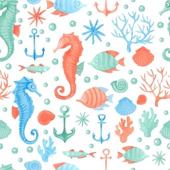 Bright and stylish sea theme background.