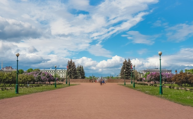 Bright summer cityscape on the champ de mars in st. petersburg