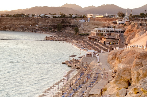 Bright sunset on a luxury hotels coast line in sharm el sheikh, south sinai, egypt.
