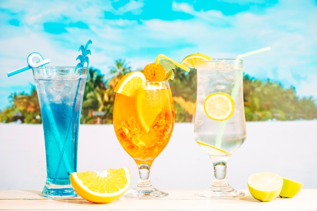 Bright tasty drinks in decorated glasses and sliced citruses