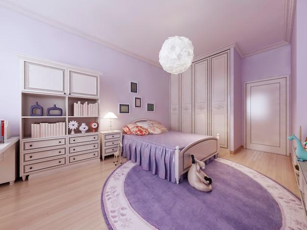 Bright teenagers bedroom interior.