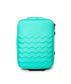 Bright turquoise travel suitcase isolated on white clipping path