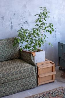 Bright vintage loft retro interior