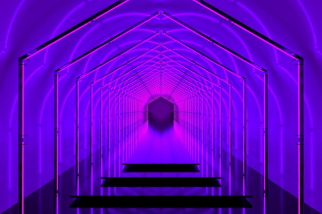 Bright violet color podium 3d portal with neon lights