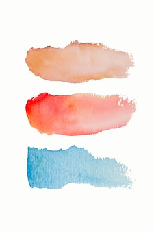 Bright watercolor blue yellow red pink stain drop, brush stroke. a