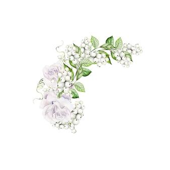 スノーベリーと柔らかいバラの明るい水彩画の花束。図