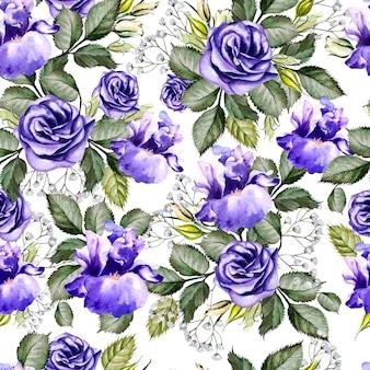 Яркие акварельные цветы бесшовные модели с ирисом и анемонами. иллюстрация