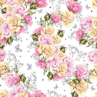 バラと蝶の明るい水彩画花シームレスパターン