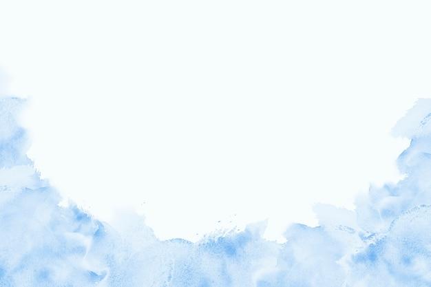 鮮やかな水彩絵の具ブルーシーウェーブブラシインク、スプラッシュストロークステインドロップ。白い背景の上の抽象芸術イラスト。テキスト用のバナー、装飾用のグランジ要素、または本の表紙。