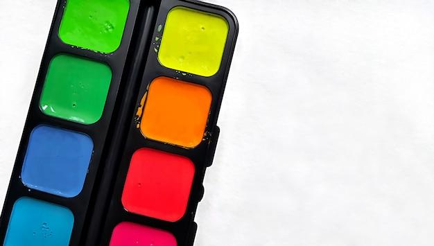 Bright watercolor paints