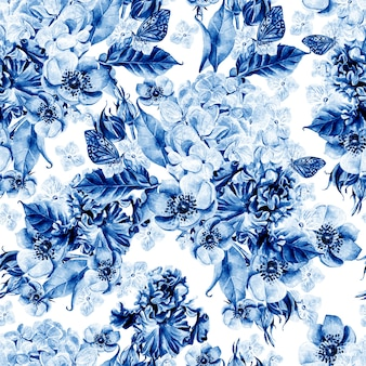 Bright watercolor seamless pattern with flowers iris, anemones and hydrangea