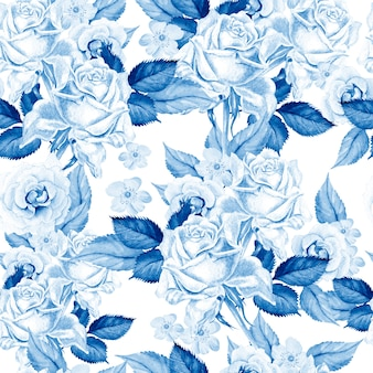 Bright watercolor seamless pattern with flowers rose
