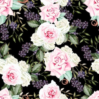 Bright watercolor seamless pattern with flowers roses, blackberries.