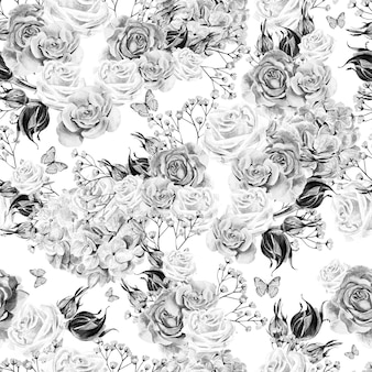 Bright watercolor seamless pattern with flowers roses and hydrangea