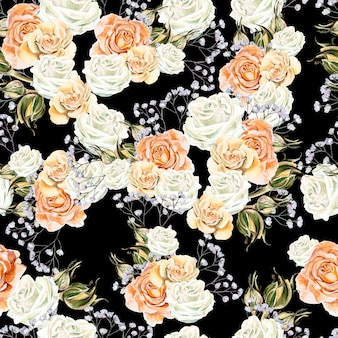 Bright watercolor seamless pattern with flowers roses and wildflowers