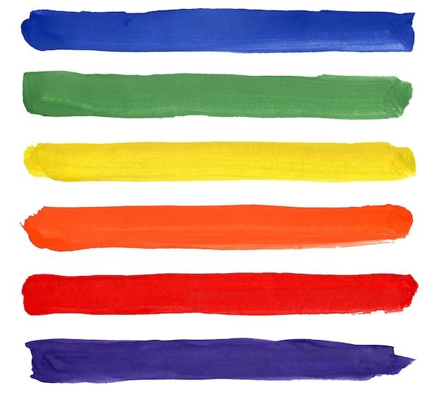 줄무늬의 밝은 수채화 세트