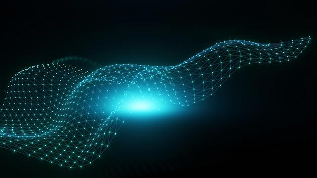 明るい波状の背景。輝く点と線。ネオンライト。波のデザイン。ダイナミックテクノ壁紙と緑色