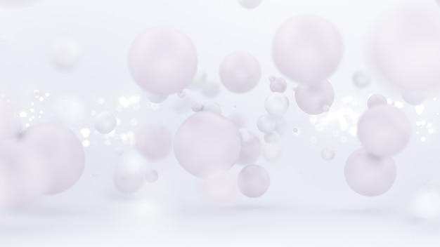 Яркий белый фон с воздушными шарами 3d иллюстрация