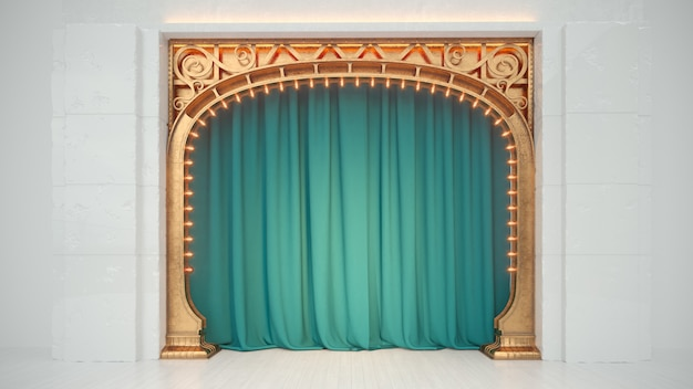 Bright white empty cabaret or comedy club stage with green curtain and art nuovo arch. 3d render.