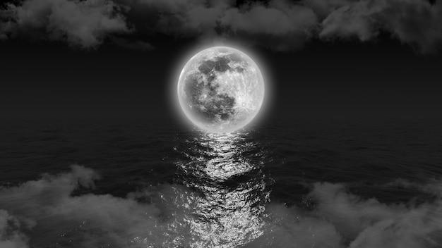 Яркая белая луна касается горизонта на берегу океана, проливая на него лунный свет, 3d иллюстрация